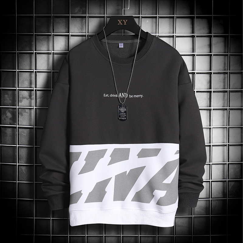 men's casual sweater fashion round neck pullover trend loose long-sleeved men's jacket jacket