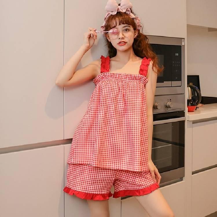 women's pajamas summer korean female summer sleeveless cute girl pajamas loose sling home pajamas