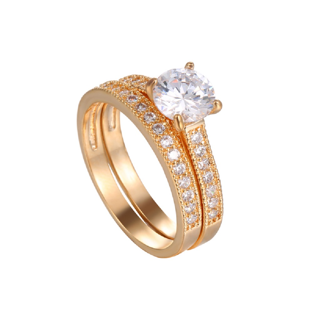 ladies double ring set high quality aaa cubic zirconia 2 pcs ring set