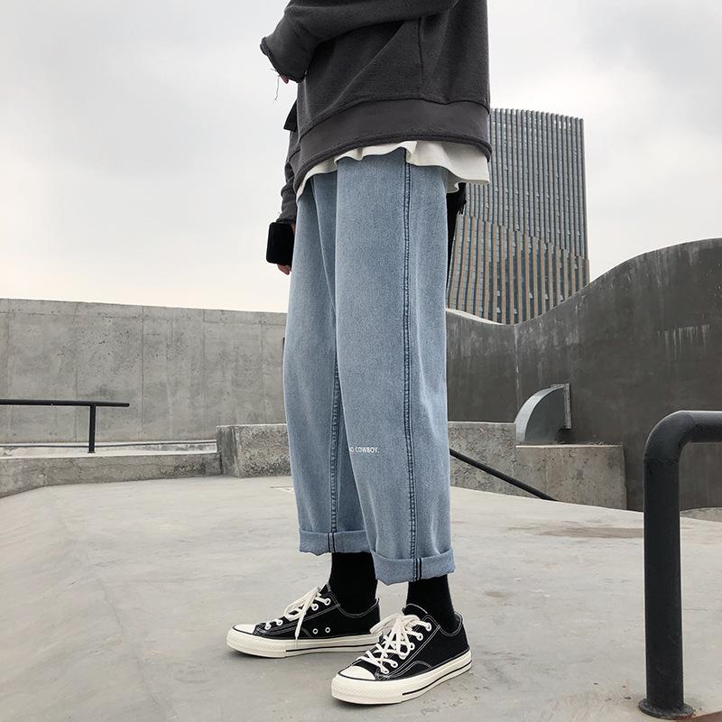 ins harajuku port fashion brand jeans men's falling sense loose straight daddy light color wide leg pants