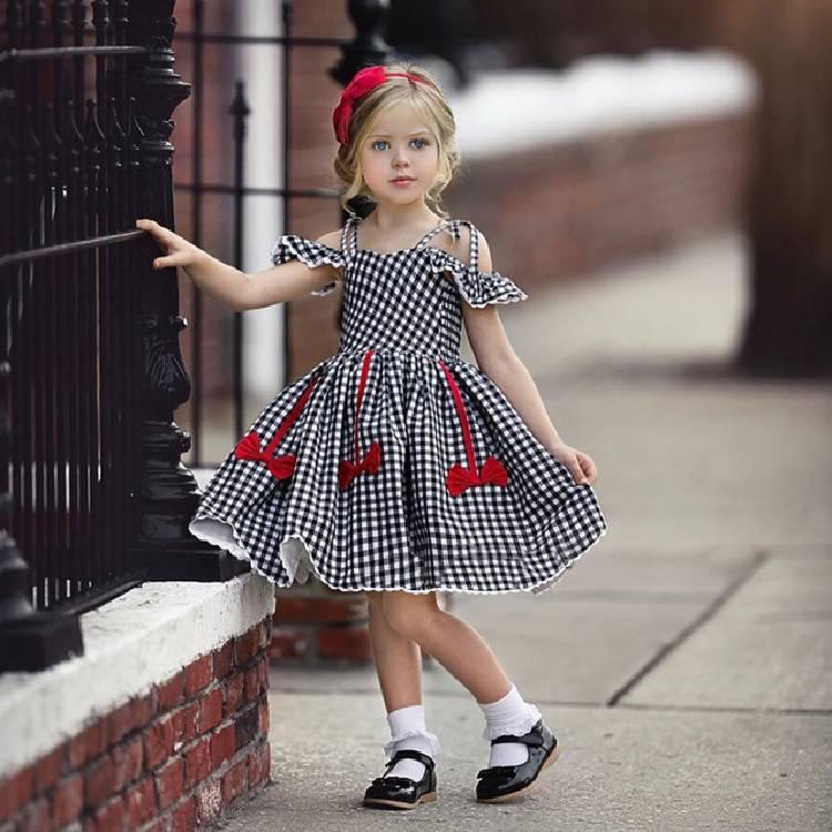 eachin girls dresses fashion baby kids girl short sleeve off shoulder a line plaid princess dress children casual beach dresses