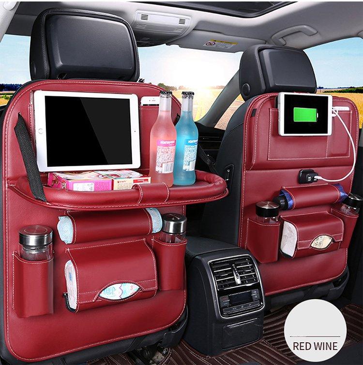 4usb charging rear seat back car leather storage bag folding dining table storage bag car trash can