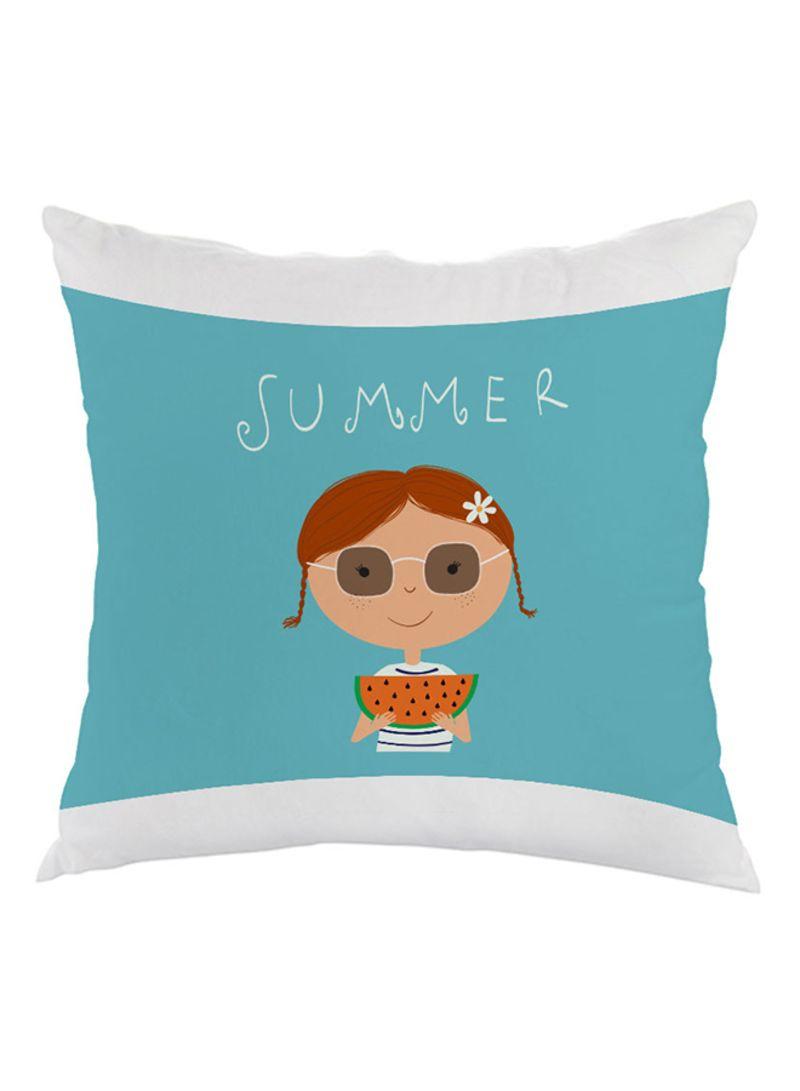 summer printed pillow velvet blue/beige 40x40 centimeter
