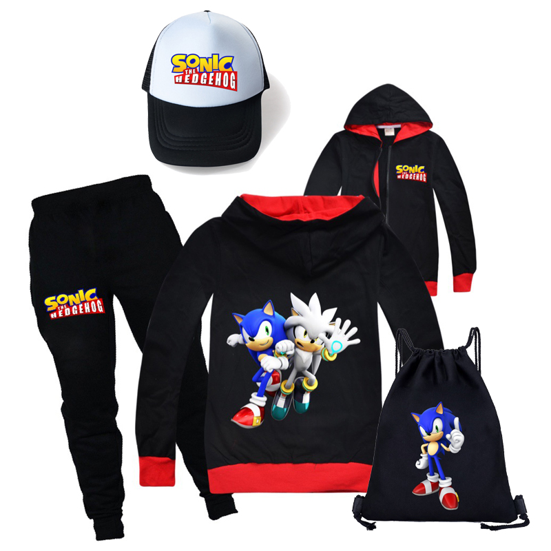 pure cotton sonic the hedgehog boys and girls jacket + trousers spring and autumn sports suit children's wear + sun hat + canvas bag