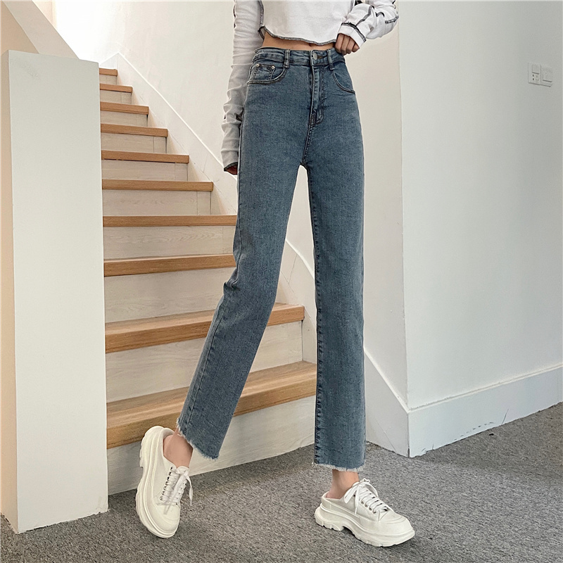 retro fashion simple jeans korean style high-waisted thin hundred tower straight trousers