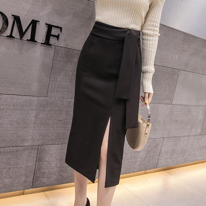 ins super hot one-piece skirt 2019 slit fashion professional skirt over the knee high waist slit very fairy skirt