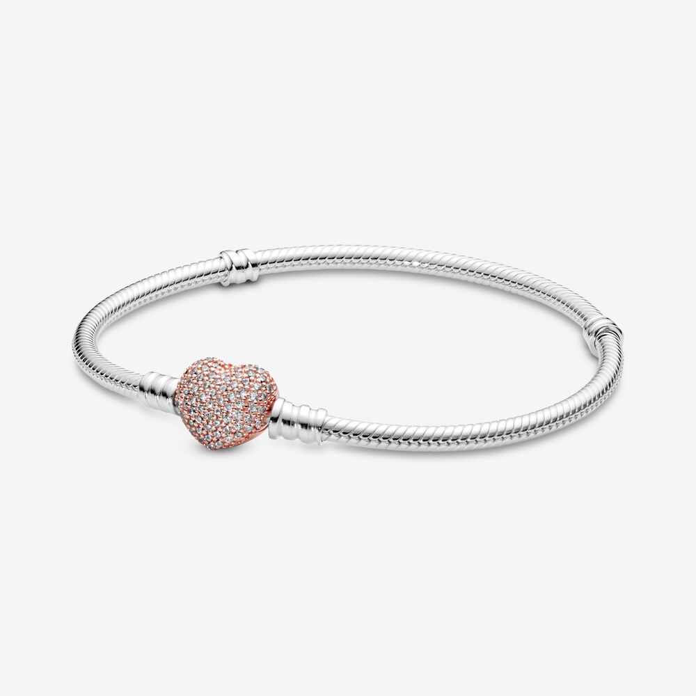 jewelry moments sparkling heart clasp snake chain charm cubic zirconia bracelet