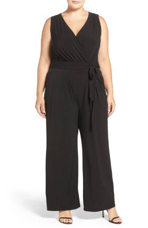 2021 black v-neck sleeveless casual loose large size lace-up jumpsuit