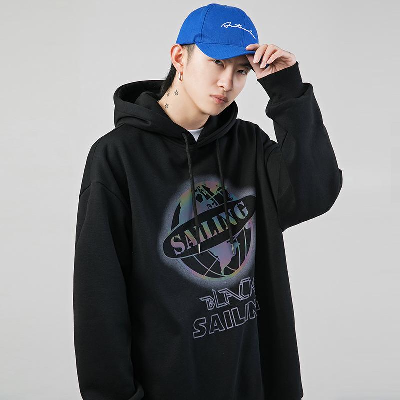 korean road japanese men's men's 2020 fall new reflective printed sweatshirt