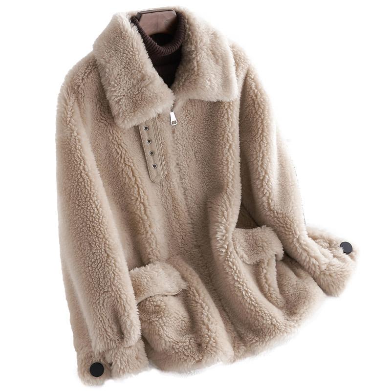 2020 autumn and winter new haining particle composite wool fur casual simple coat anti-season coat women-alibaba