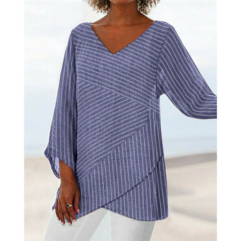 fashionable european and american v-neck solid color cross stripe women's long sleeve top in 2020