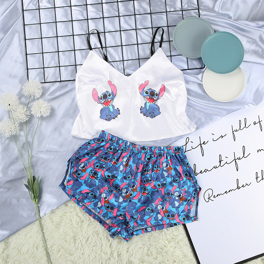 satin stitch printed pajama set women's new european and american sexy v-neck sling shorts home service