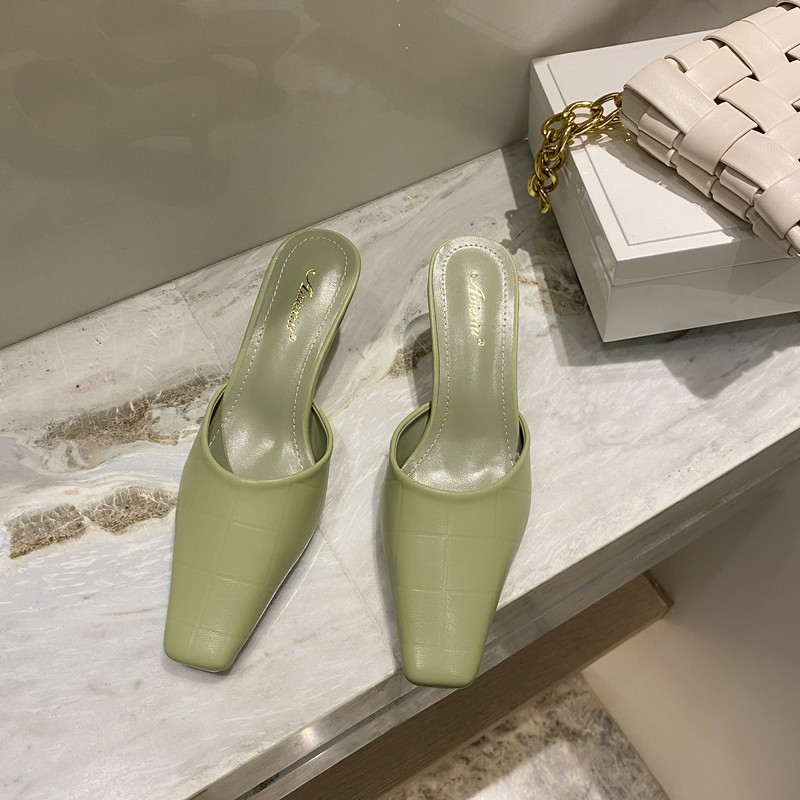 2021 spring fashion small square head stone pattern stiletto high heel set foot women's sandals and slippers