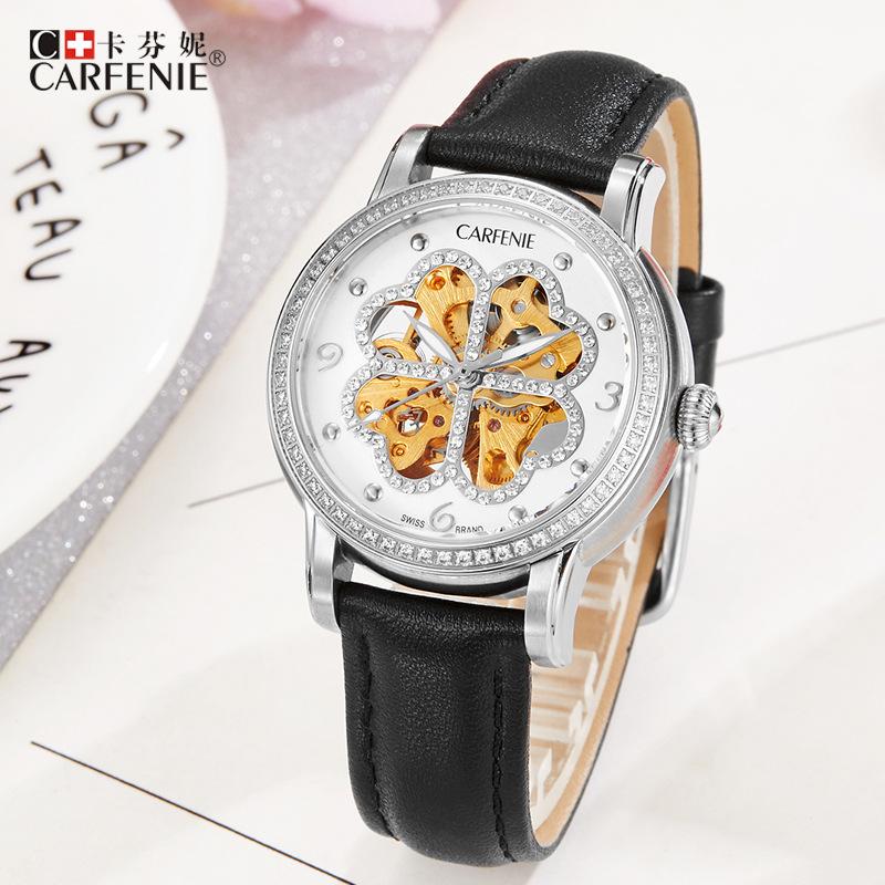 kafenni automatic high-end mechanical ladies watch waterproof glass hollow heart-shaped fashion ladies mechanical watch