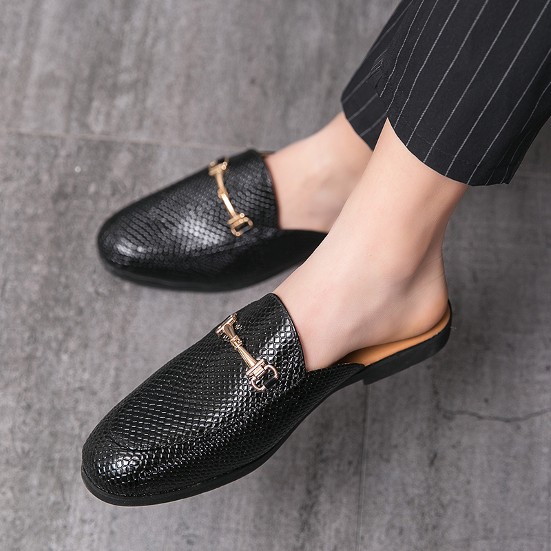 crocodile pattern metal buckle tassel british style slippers half slippers ins fashion leather business casual leather shoes daily home outing sandal