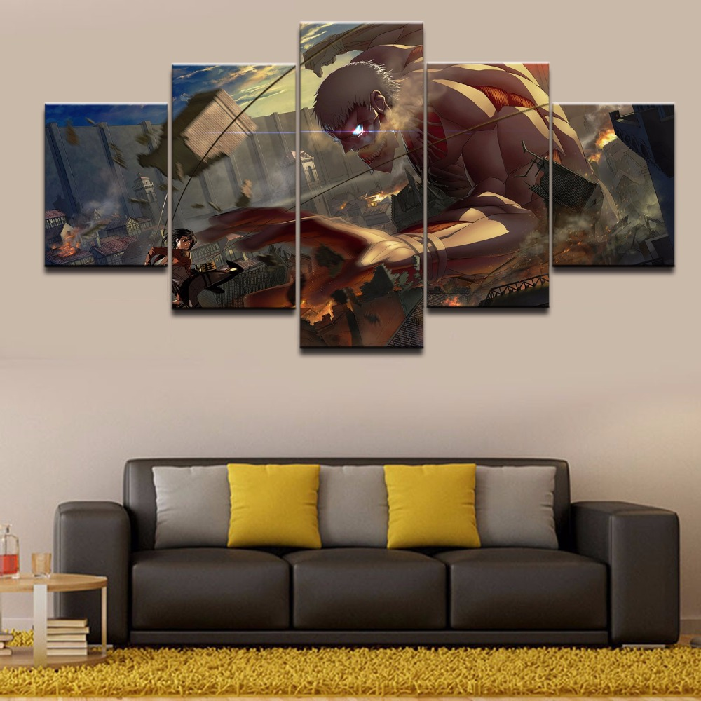 hd printed modular pictures no framework canvas 5 panel anime attack on titan the armored titan characters poster home decor wall art oil painting