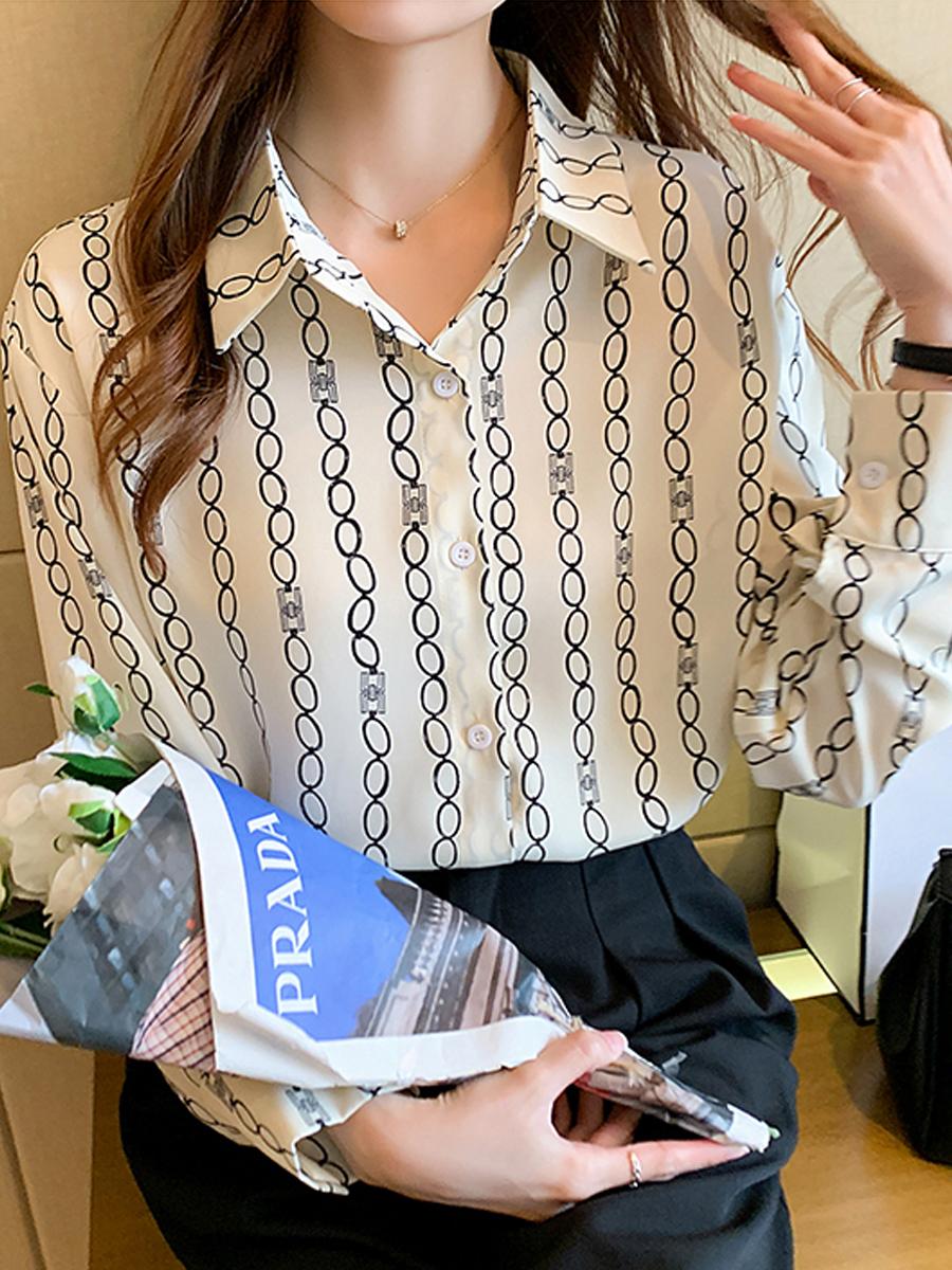 women's new silk all-match long-sleeved shirt