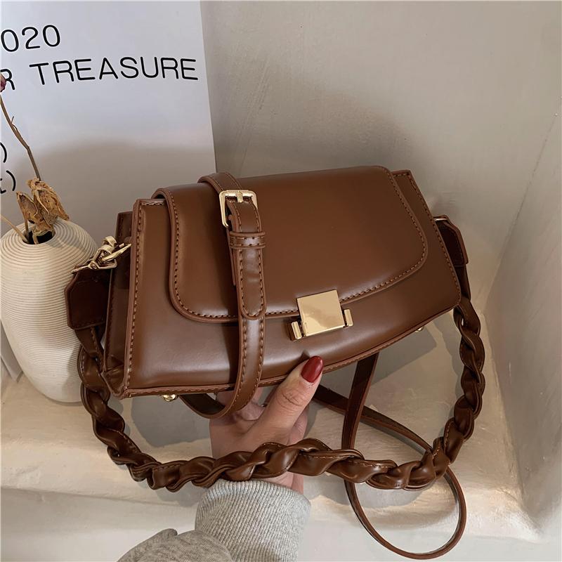 high-quality twist shoulder strap bag female 2020 new trend fashion shoulder bag versatile soft leather messenger small square bag