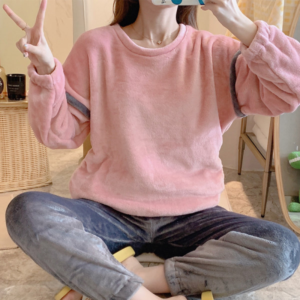autumn and winter women's new flannel pink leopard round neck pajamas double-length warm soft comfortable and cute casual homewear suit