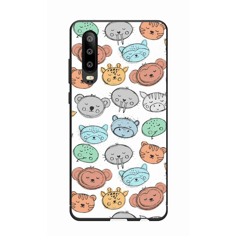 okteq case cover for huawei p30 protection cover - cute animal faces by okteq