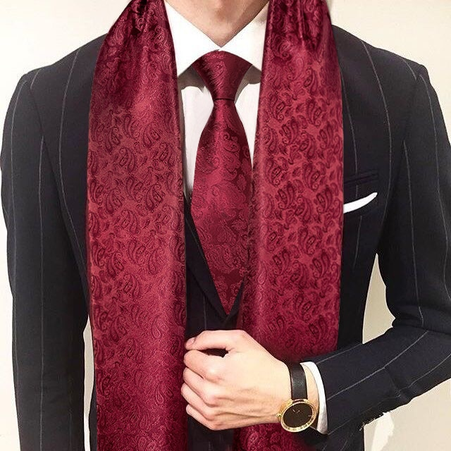 new fashion men scarf green jacquard paisley 100% silk scarf tie autumn winter casual business suit shirt scarf set barry.wang