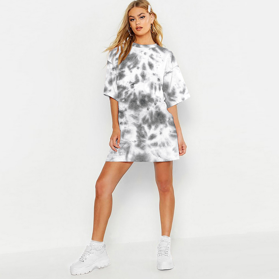 tie-dye digital printing women's mid-length short-sleeved tops european and american street loose trendy t-shirts loose at home style