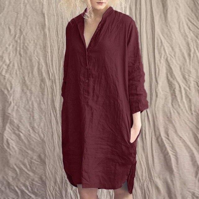 fashion shirt dress women's solid sundress zanzea casual long sleeve button knee length vestidos female cotton robe plus size