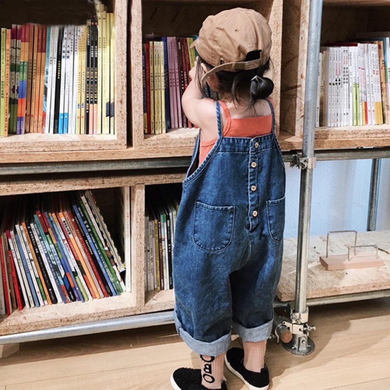 2021 children's suit summer korean version of the girl's small incense wind bib denim bib suit
