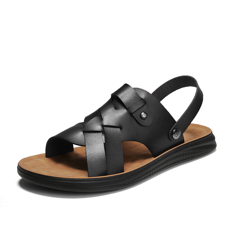 sandals men 2021 new summer dual-use soft leather sandals men's slippers casual outdoor non-slip beach shoes